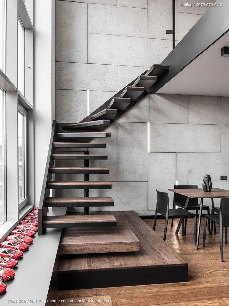 Cầu thang có thiết kế không lan can tay vịn