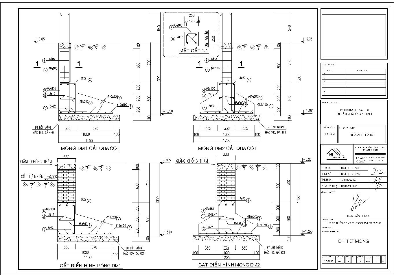 Phần chi tiết móng băng nhà 2 tầng ở Quảng Ninh