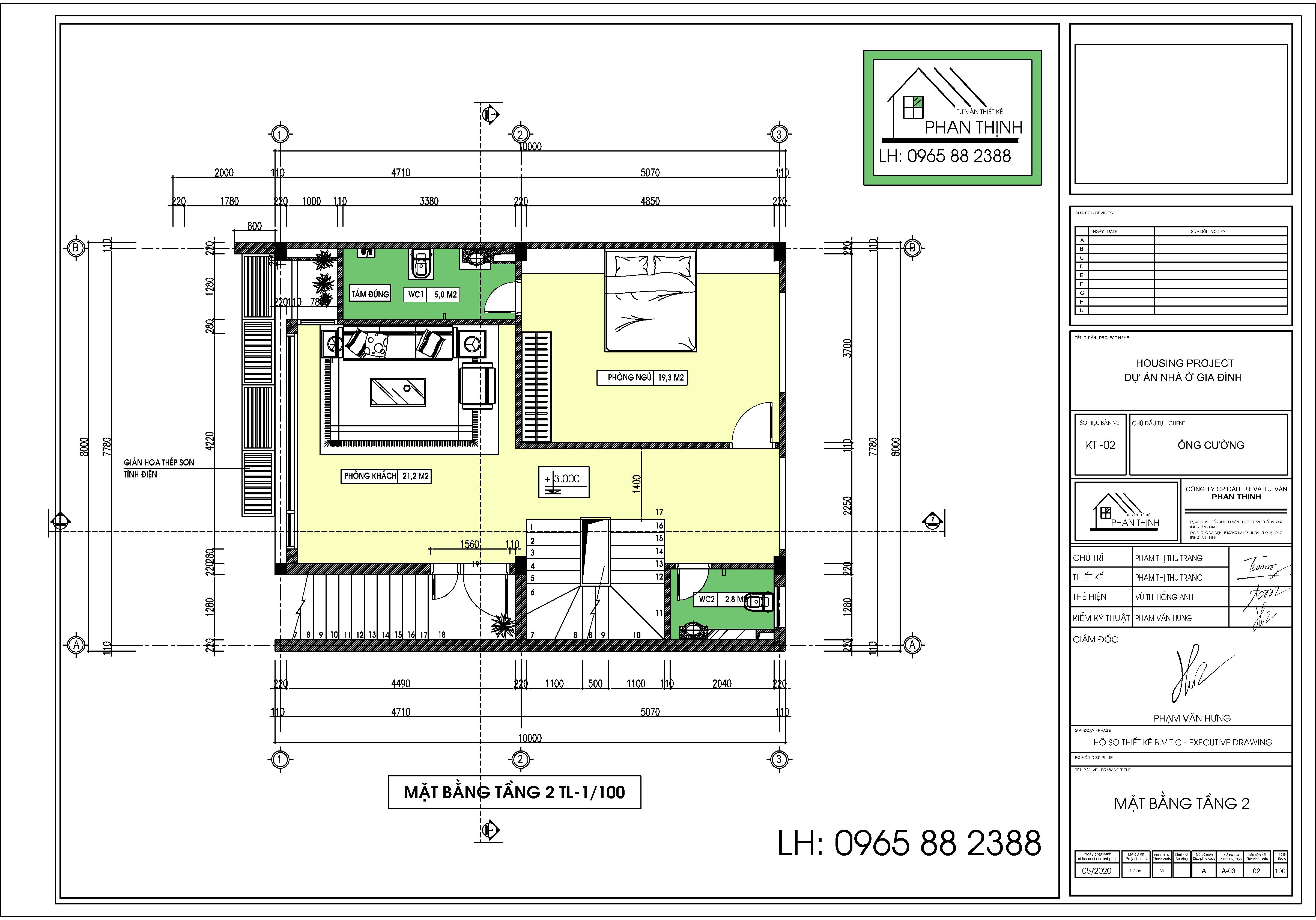 Thiết kế mặt bằng tầng 2 ngôi nhà 3 tầng hiện đại rộng 8m