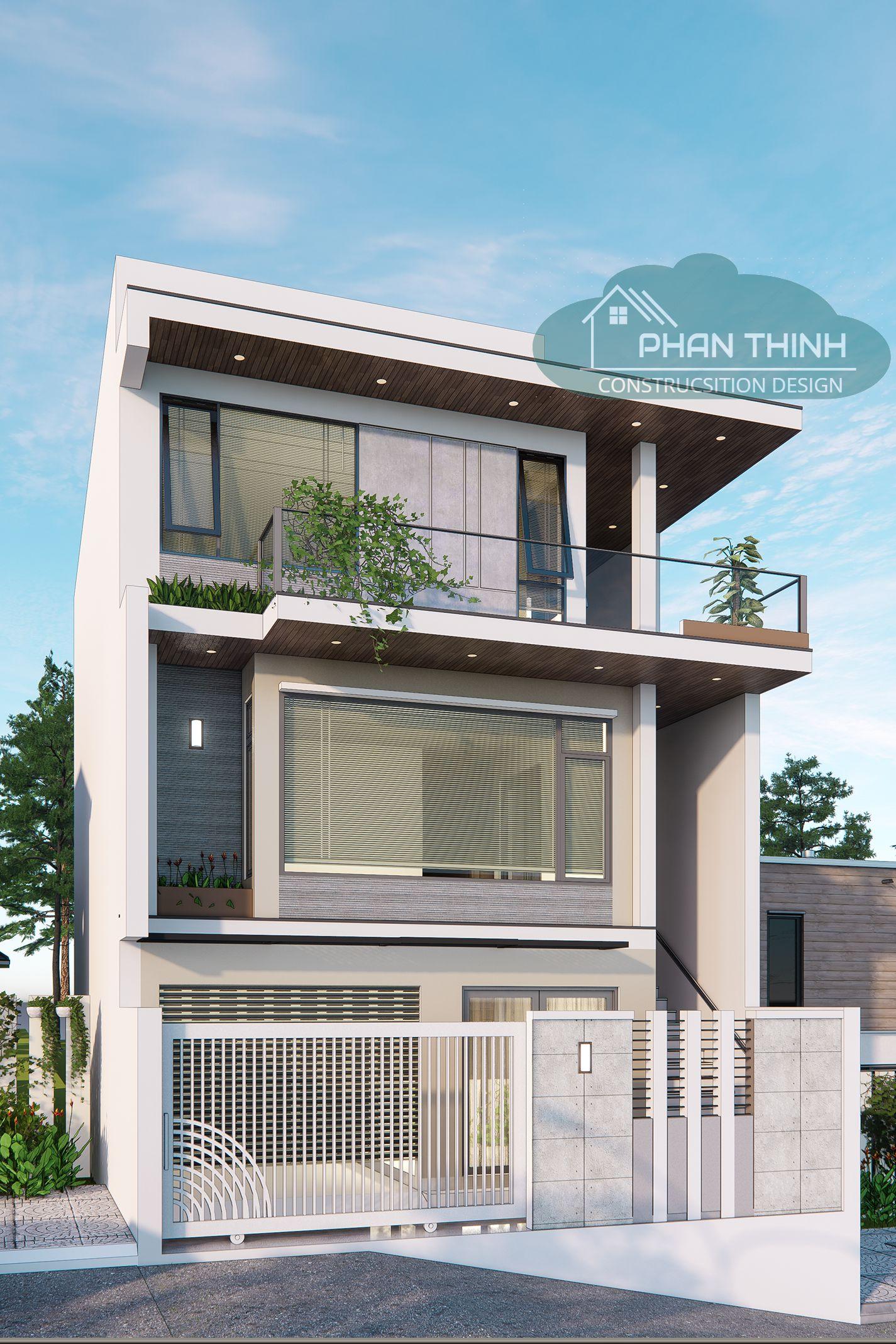 Mặt tiền căn biệt thự 3 tầng hiện đại rộng 8m ở Bãi Cháy Quảng Ninh
