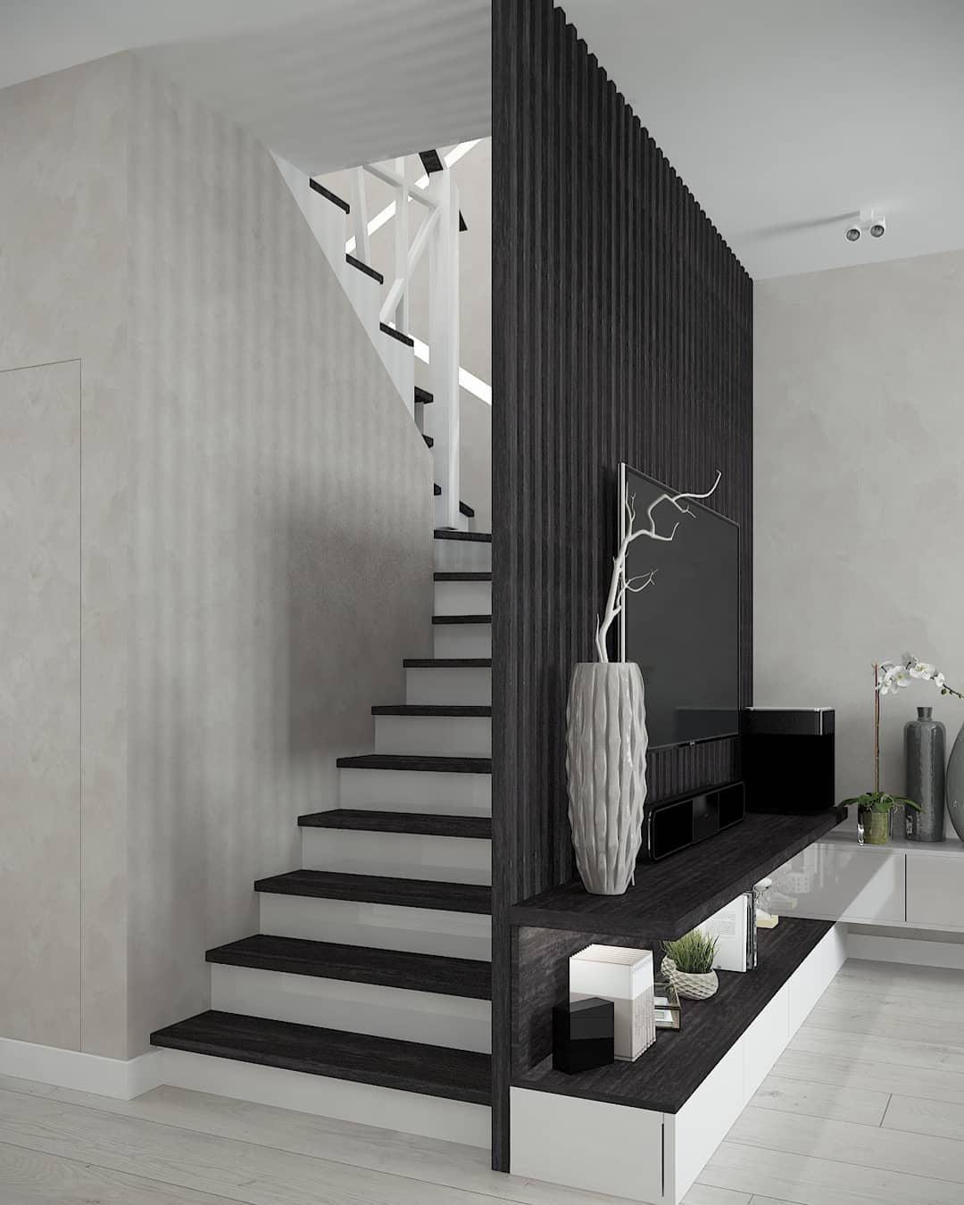 Cầu thang ngay tại phòng khách