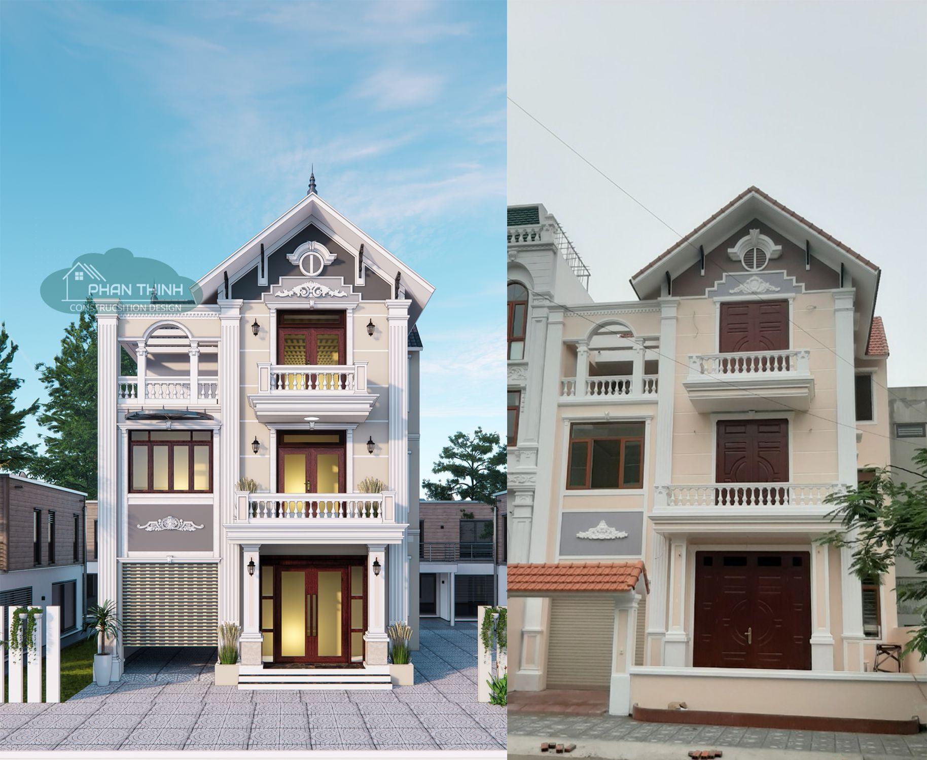 Ảnh thiết kế phối cảnh và sau khi hoàn thiện ngôi nhà