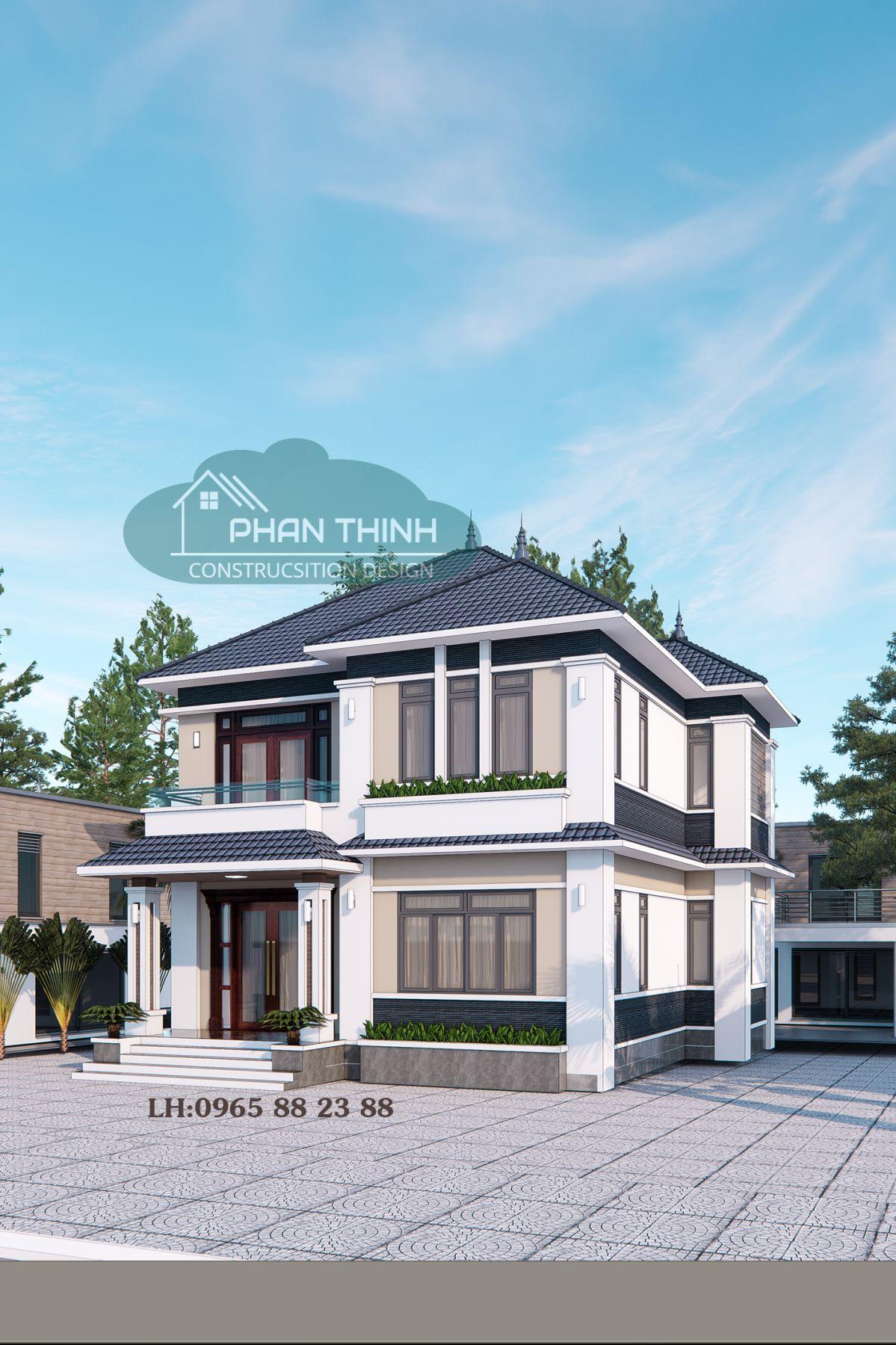 Biệt thự 2 tầng mặt tiền 10m phong cách mái thái ở Hạ Long