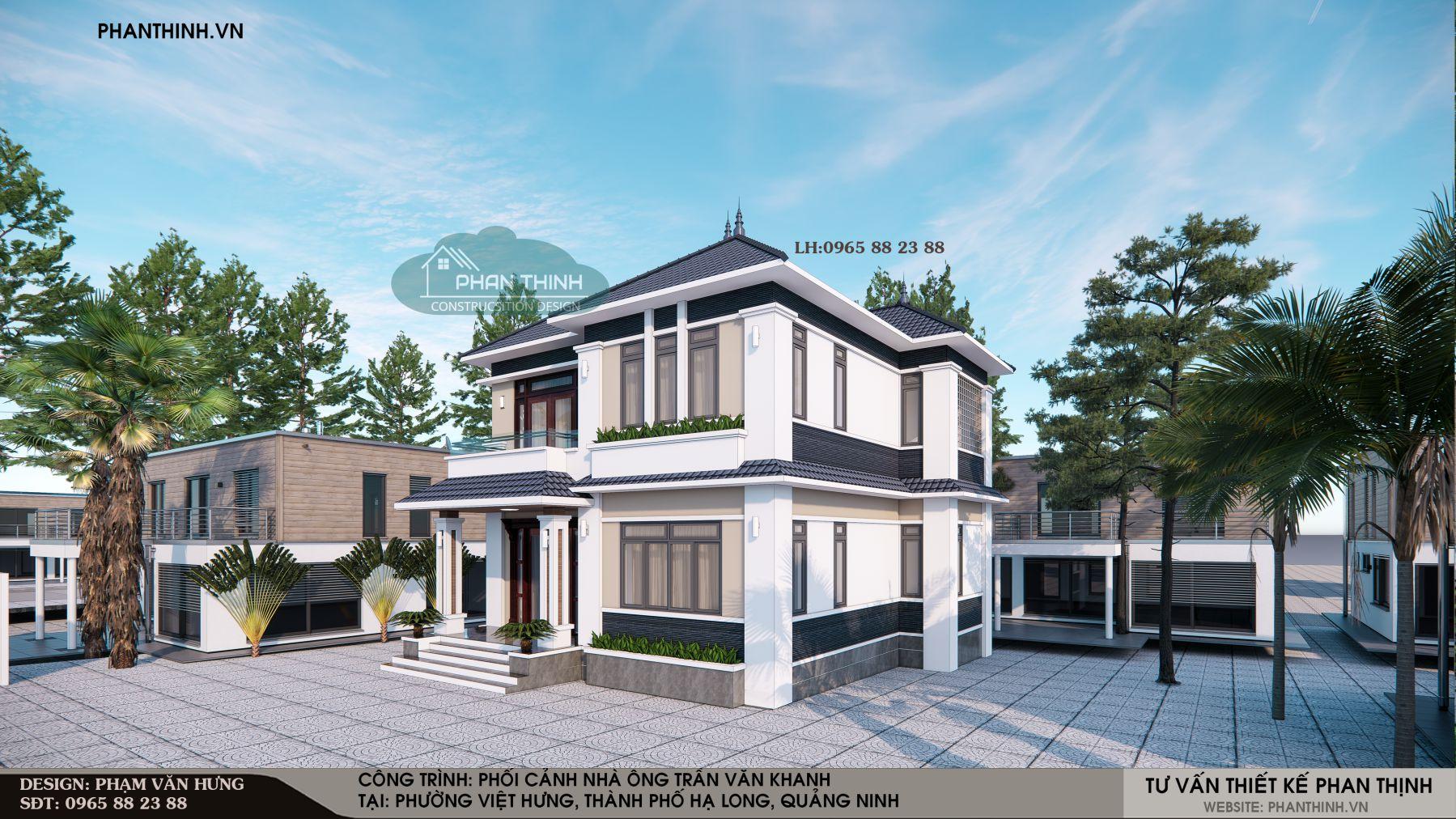 Phối cảnh mặt tiền mẫu biệt thự 2 tầng mái thái đẹp ở Quảng Ninh