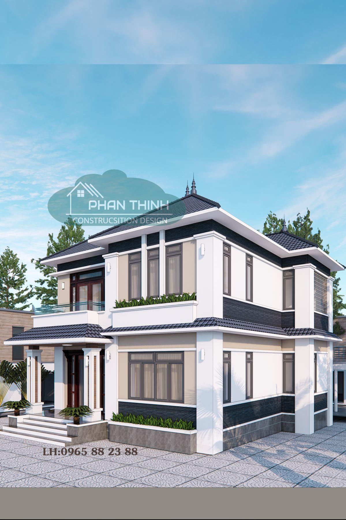 Thiết kế biệt thự tại Quảng Ninh, căn biệt thự 2 tầng mái thái