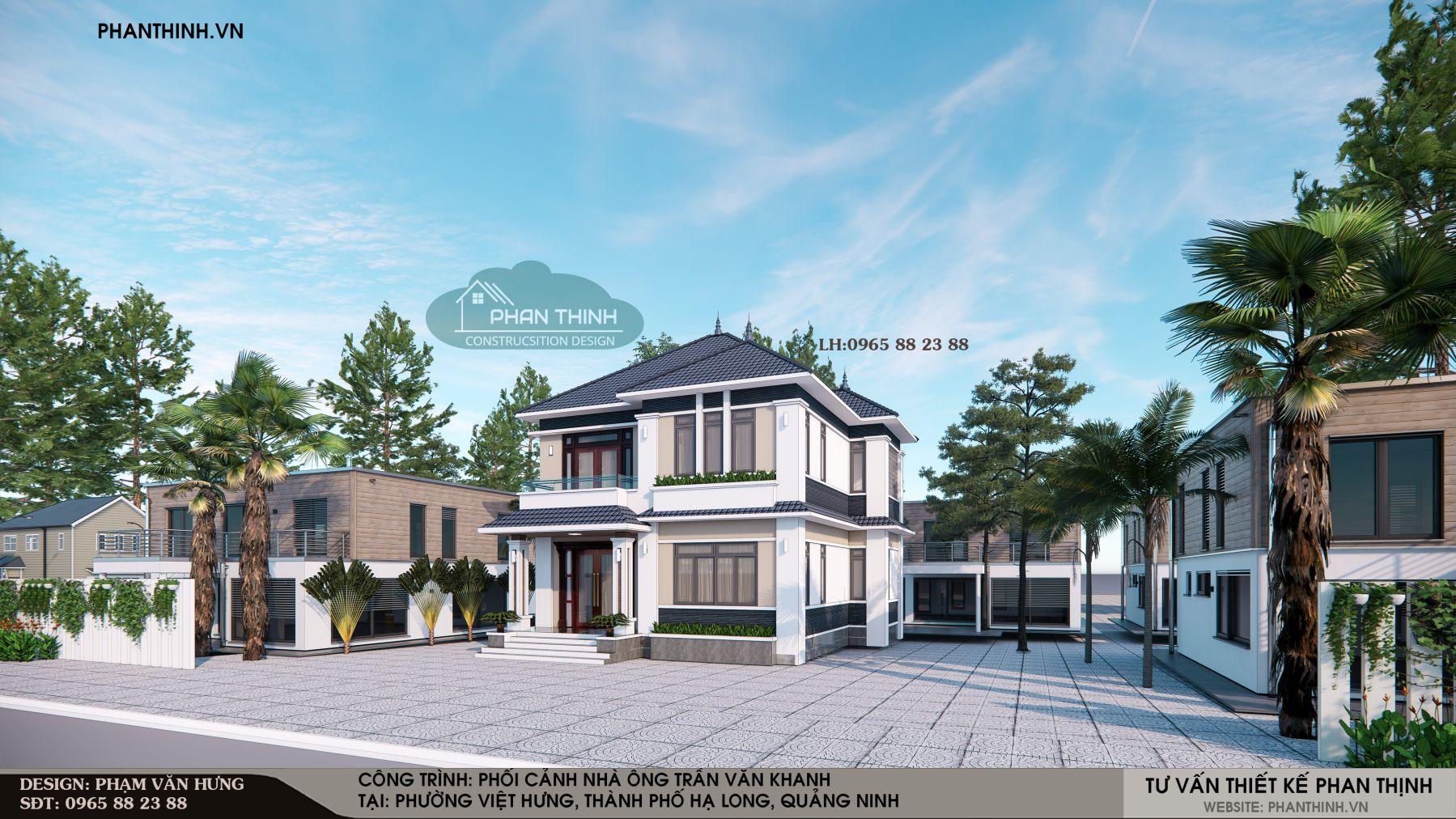 Thiết kế mặt tiền căn biệt thự 2 tầng tại phường Việt Hưng, Hạ Long, Quảng Ninh