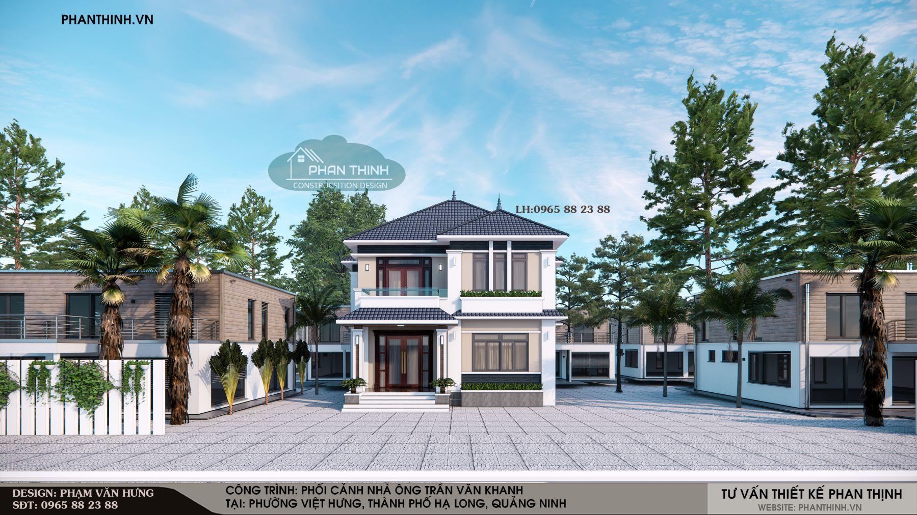 Mẫu mặt tiền căn nhà 2 tầng mái thái đẹp tại Hạ Long Quảng Ninh