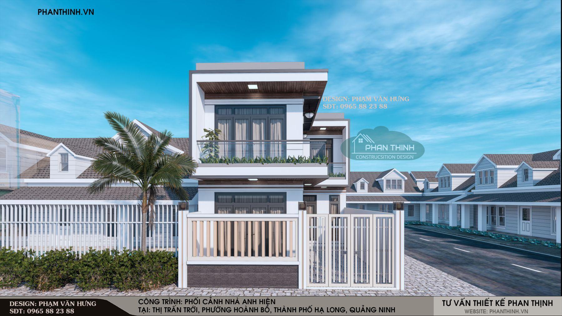 Thiết kế phối cảnh mặt tiền ngôi nhà 2 tầng phong cách hiện đại