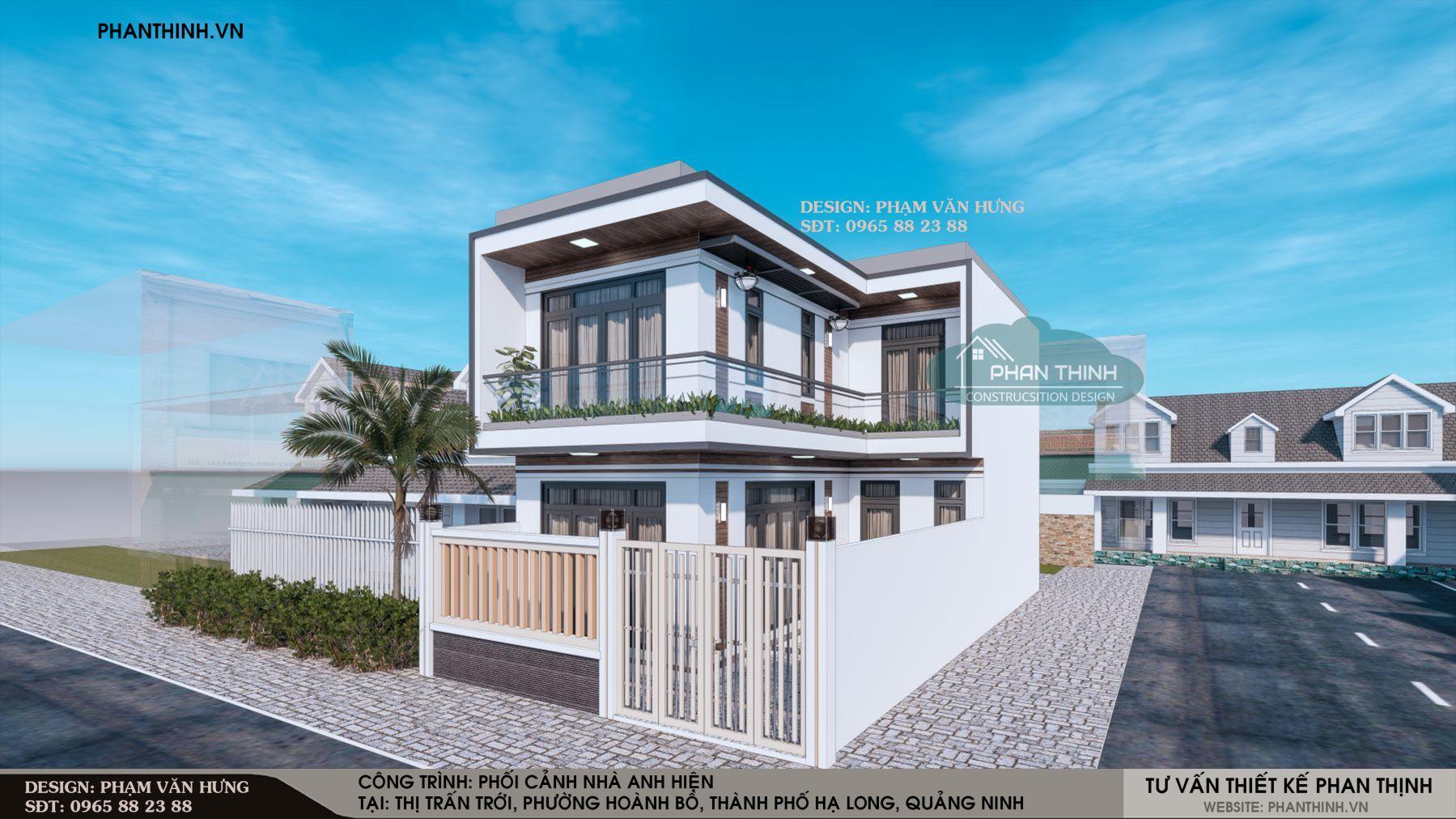 Thiết kế mặt tiền nhà ống 2 tầng, 2 mặt tiền tại phường Hoành Bồ, thành phố Hạ Long