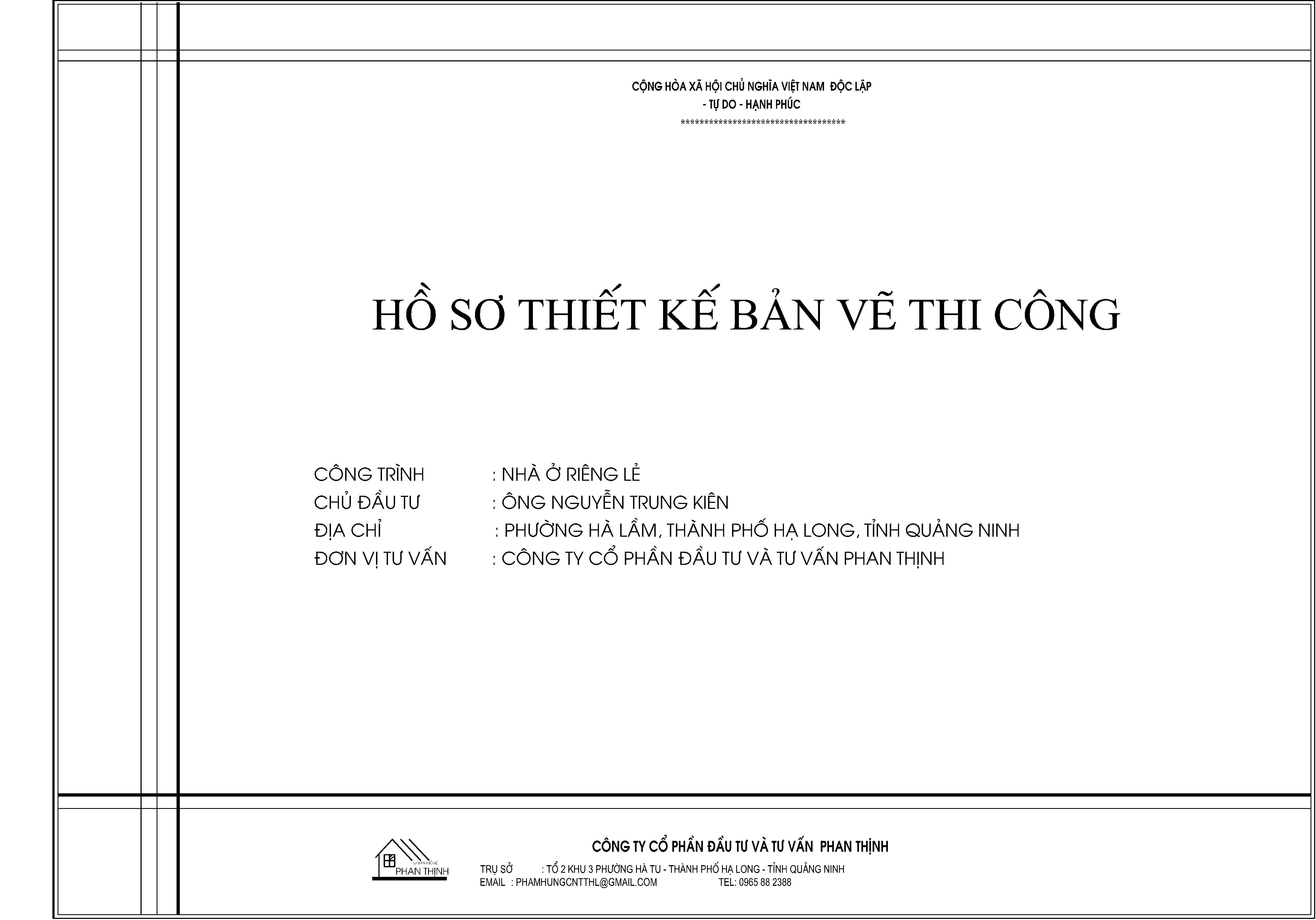 Bìa hồ sơ thiết kế xây dựng nhà anh Kiên tại phường Hà Lầm thành phố Hạ Long