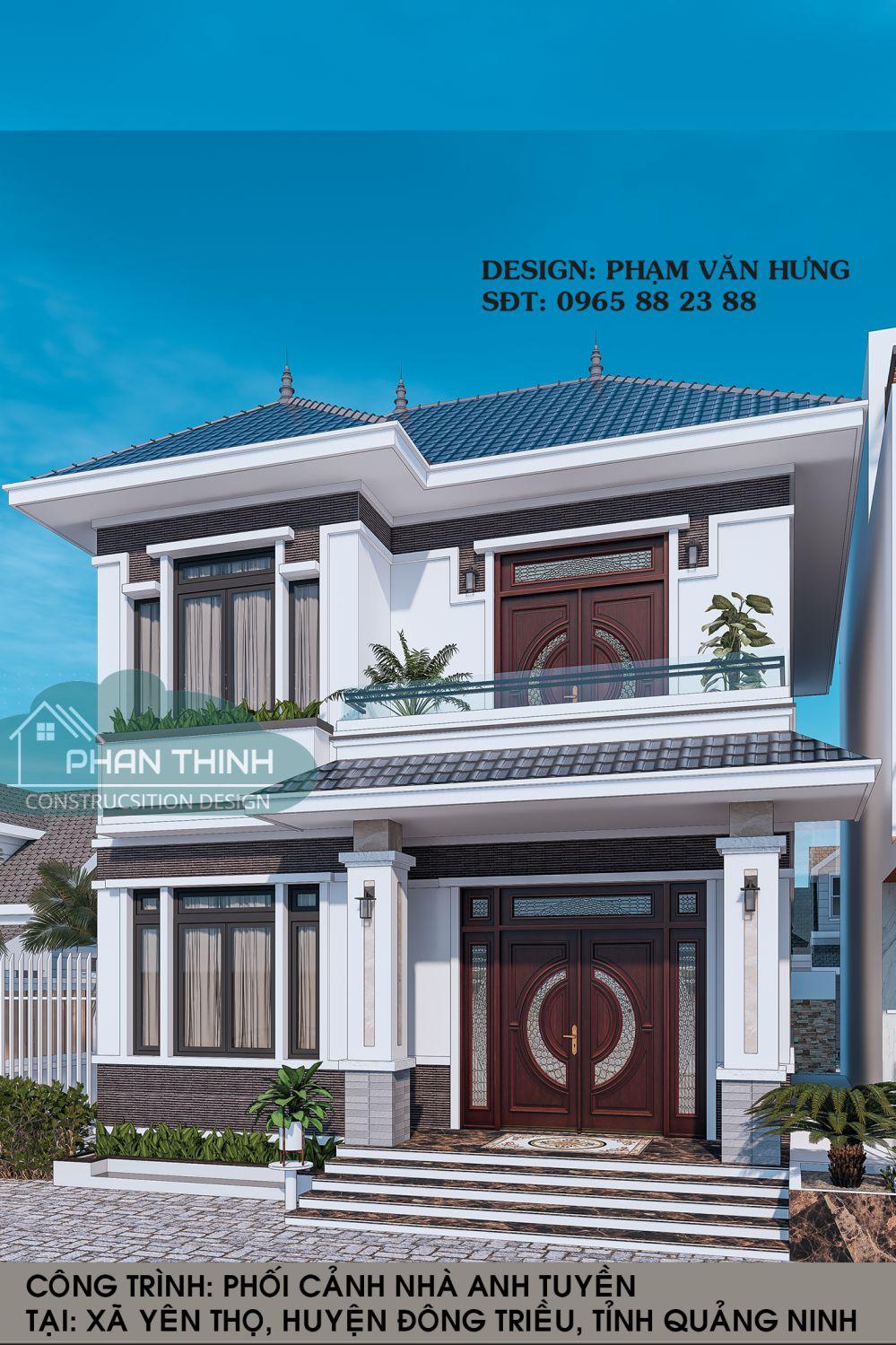 Mặt tiền biệt thự mái thái 2 tầng tại Hạ Long