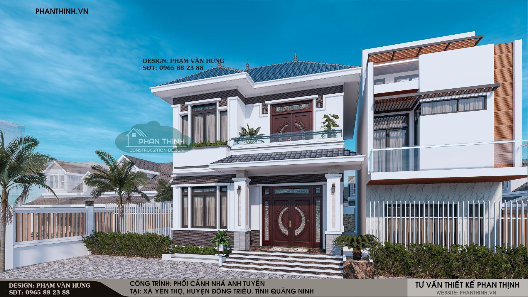 Mặt tiền thiết kế biệt thự 2 tầng đẹp tại Quảng Ninh
