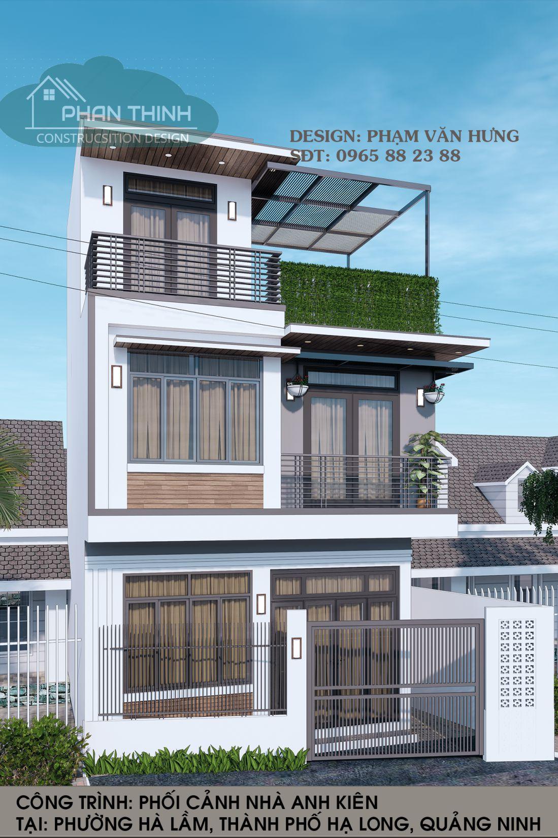 Phối cảnh nhà ống 3 tầng đẹp ở Quảng Ninh