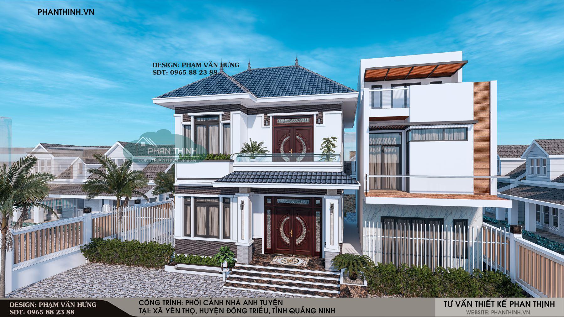Phối cảnh mặt tiền biệt thự 2 tầng đẹp tại Quảng Ninh