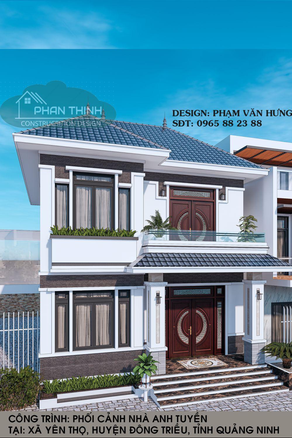 Mặt tiền 2 tầng biệt thự mái thái ở Quảng Ninh phong cách mái thái