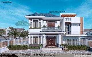 Thiết kế biệt thự 2 tầng mái thái đẹp tại Quảng Ninh, mặt tiền 8m
