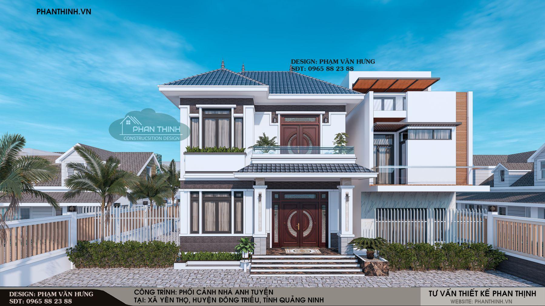 Thiết kế phối cảnh biệt thự 2 tầng mái thái tại Quảng Ninh