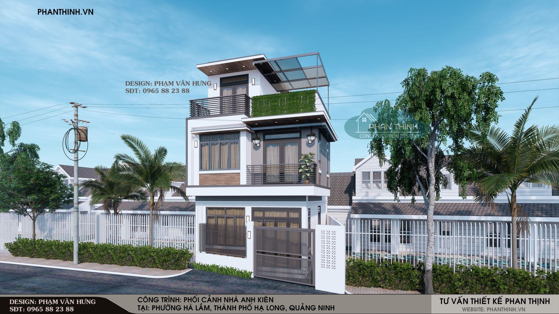 Thiết kế xây dựng mặt tiền nhà 2 tầng ở Quảng Ninh