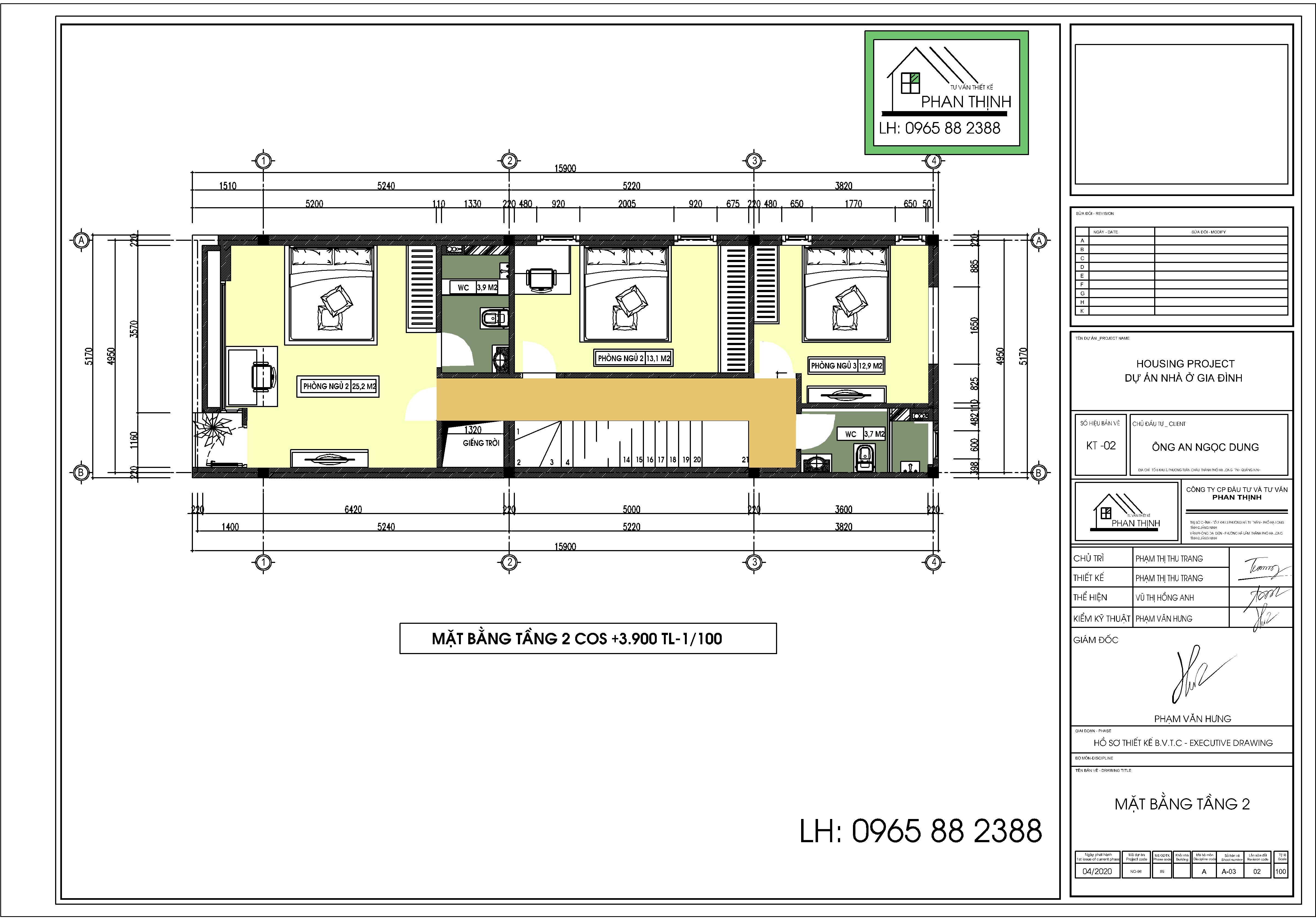 Thiết kế tầng 2 ngôi nhà rộng 5m mặt tiền ở Quảng Ninh