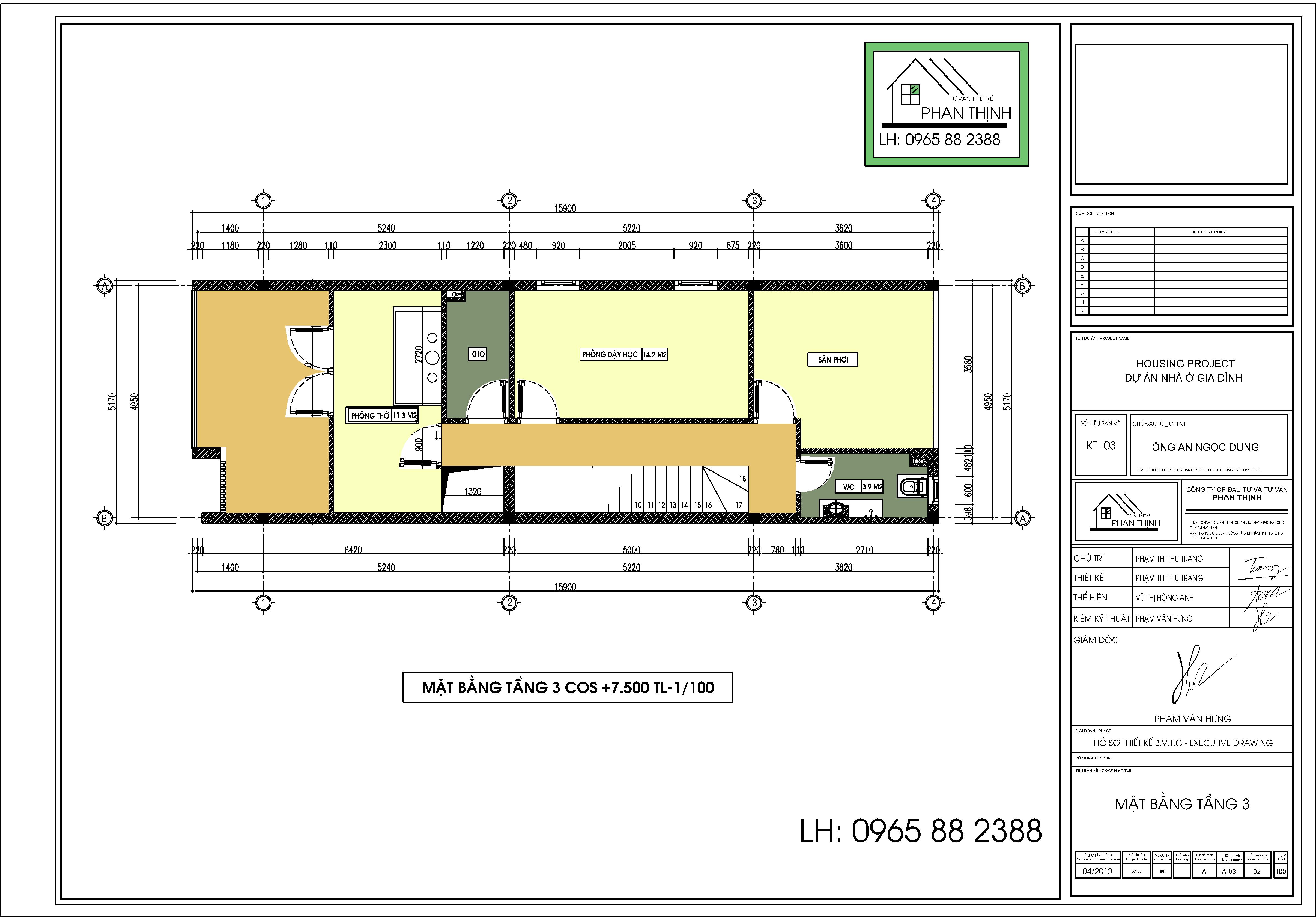 Thiết kế tầng 3 ngôi nhà 3 tầng ở Quảng Ninh