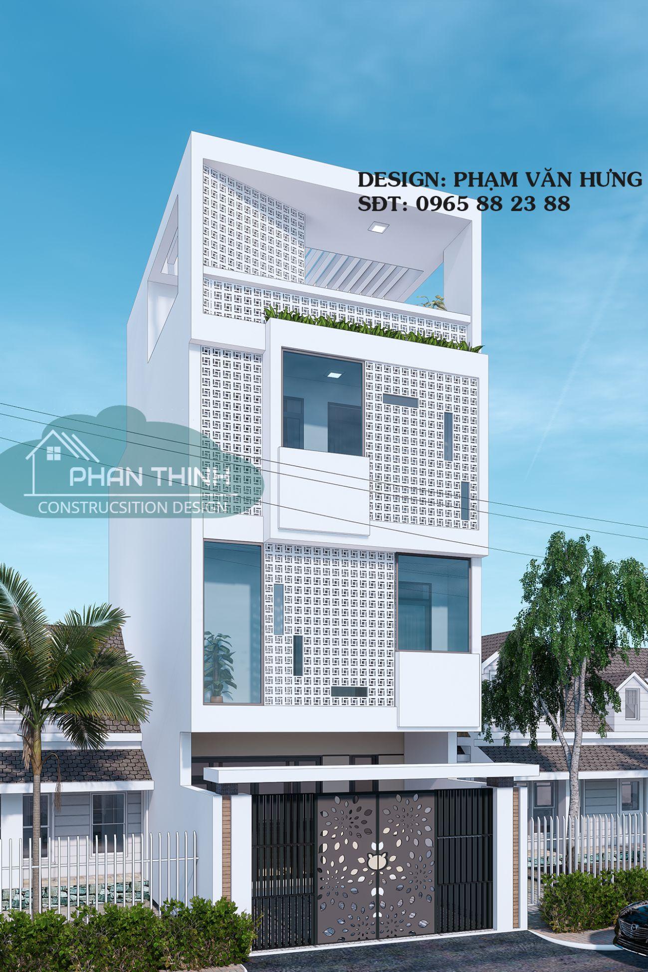 Mặt tiền ngôi nhà hướng Tây sử dụng gạch bông gió đẹp, mặt tiền 6m hiện đại