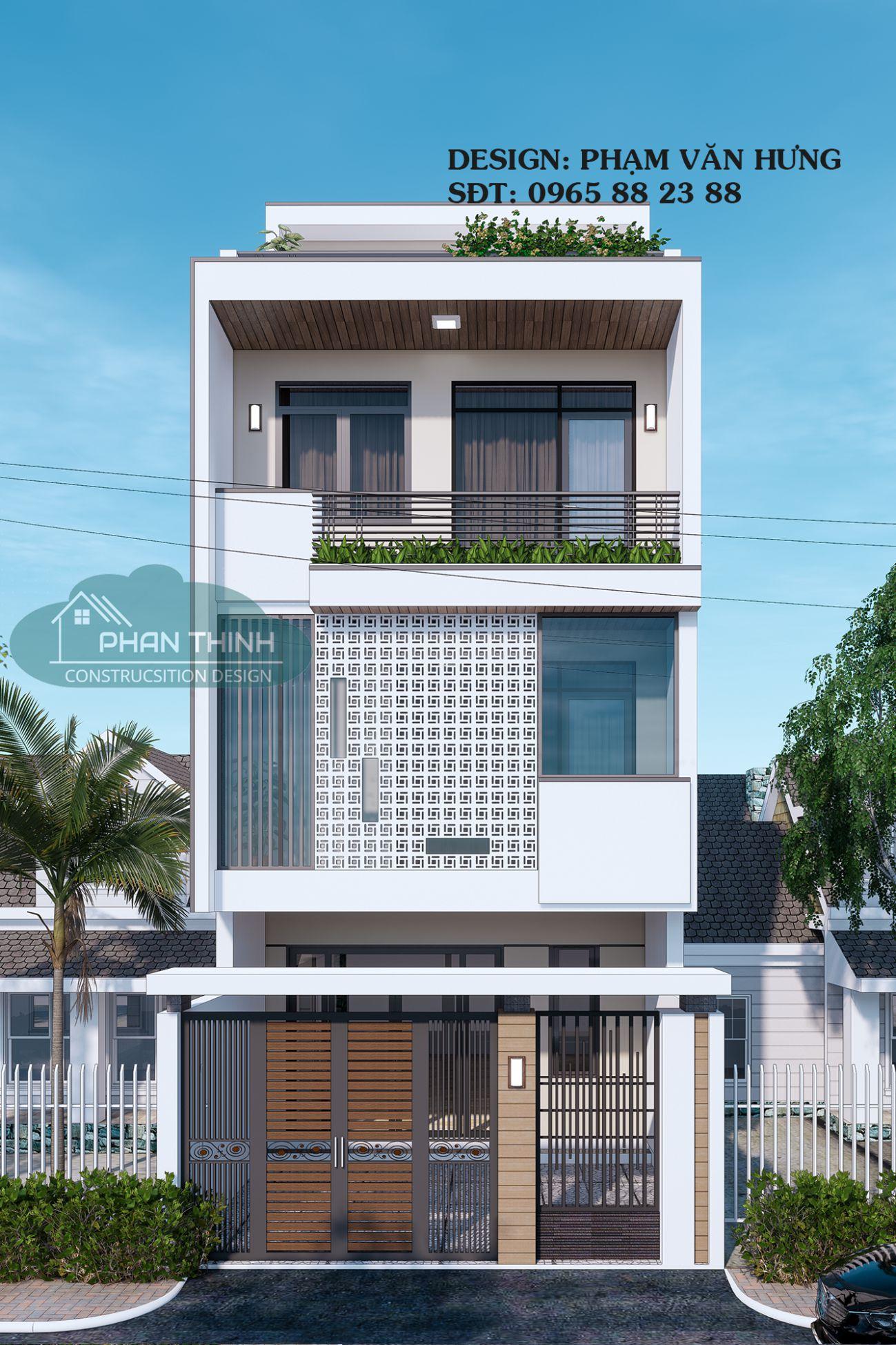 Mẫu nhà 3 tầng 1 tum hướng Tây đẹp ở Quảng Ninh