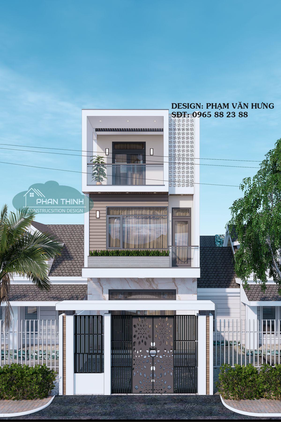 Thiết kế mặt tiền ngôi nhà ống 3 tầng hiện đại ở Quảng Ninh