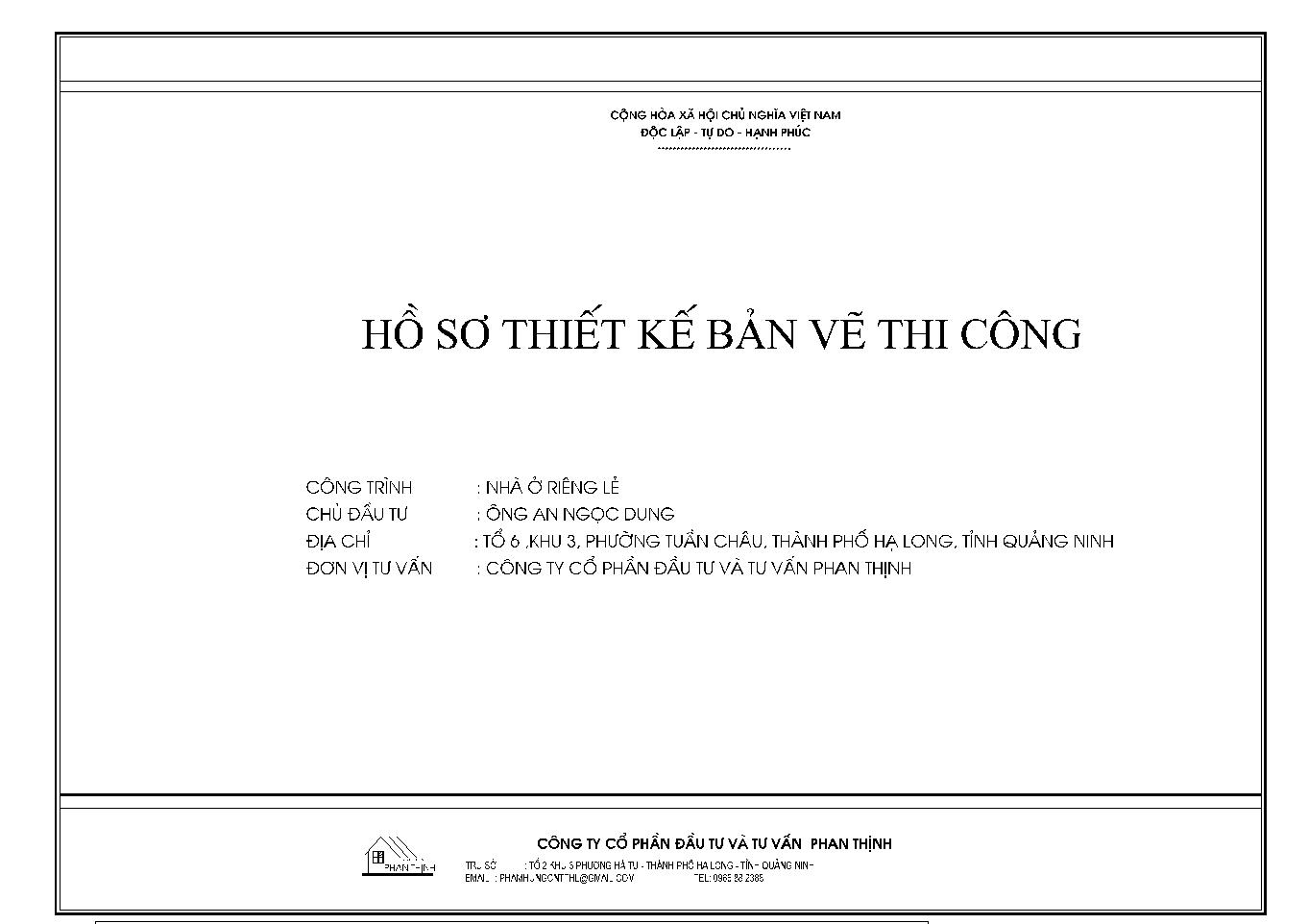 Bìa hồ sơ thiết kế bản vẽ thi công
