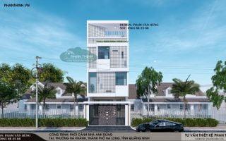 Thiết kế nhà phố hướng tây 3 tầng 1 tum mặt tiền 6m đẹp ở Quảng Ninh