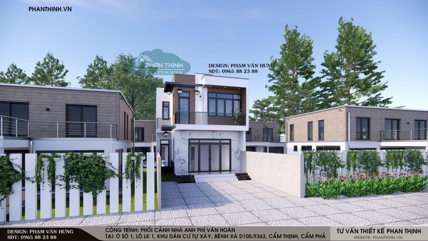 Thiết kế phối cảnh nhà 2 tầng hiện đại tại Cẩm Phả Quảng Ninh