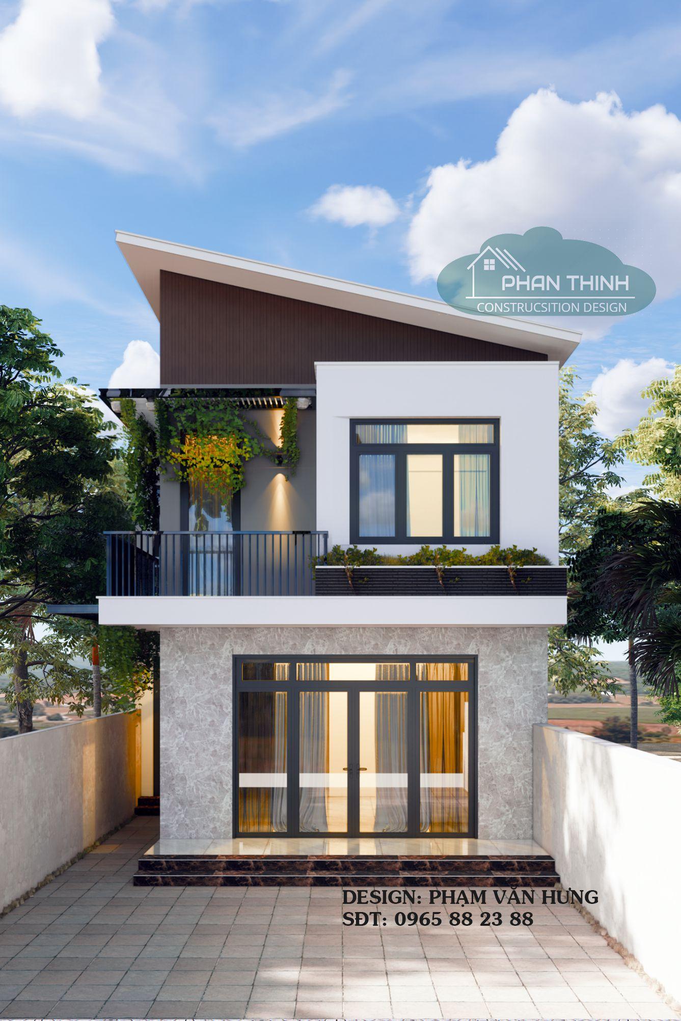 Thiết kế mặt tiền nhà anh Hoàn tại Cẩm Phả Quảng Ninh, ngôi nhà 2 tầng hiện đại