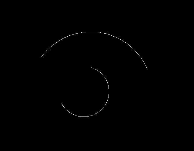 Hai cung tròn minh họa được tạo bằng lệnh ARC