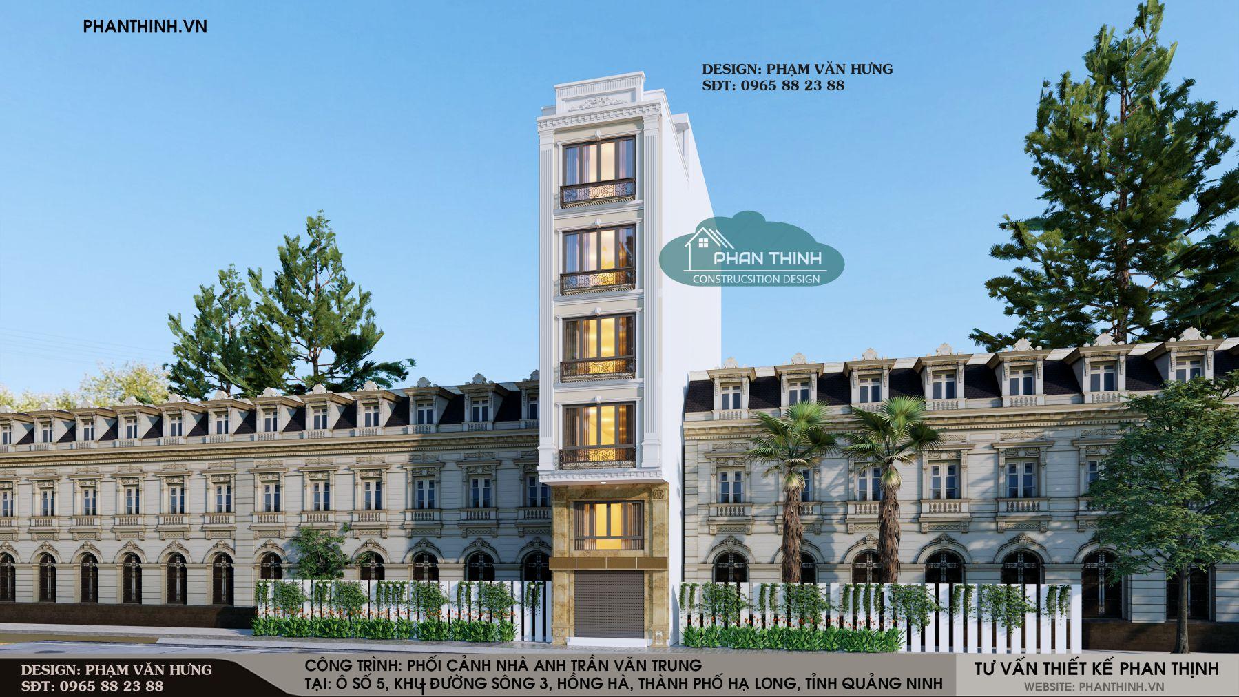 Thiết kế phối cảnh mặt tiền nhà 5 tầng tân cổ điển tại phường Hồng Hà, Hạ Long