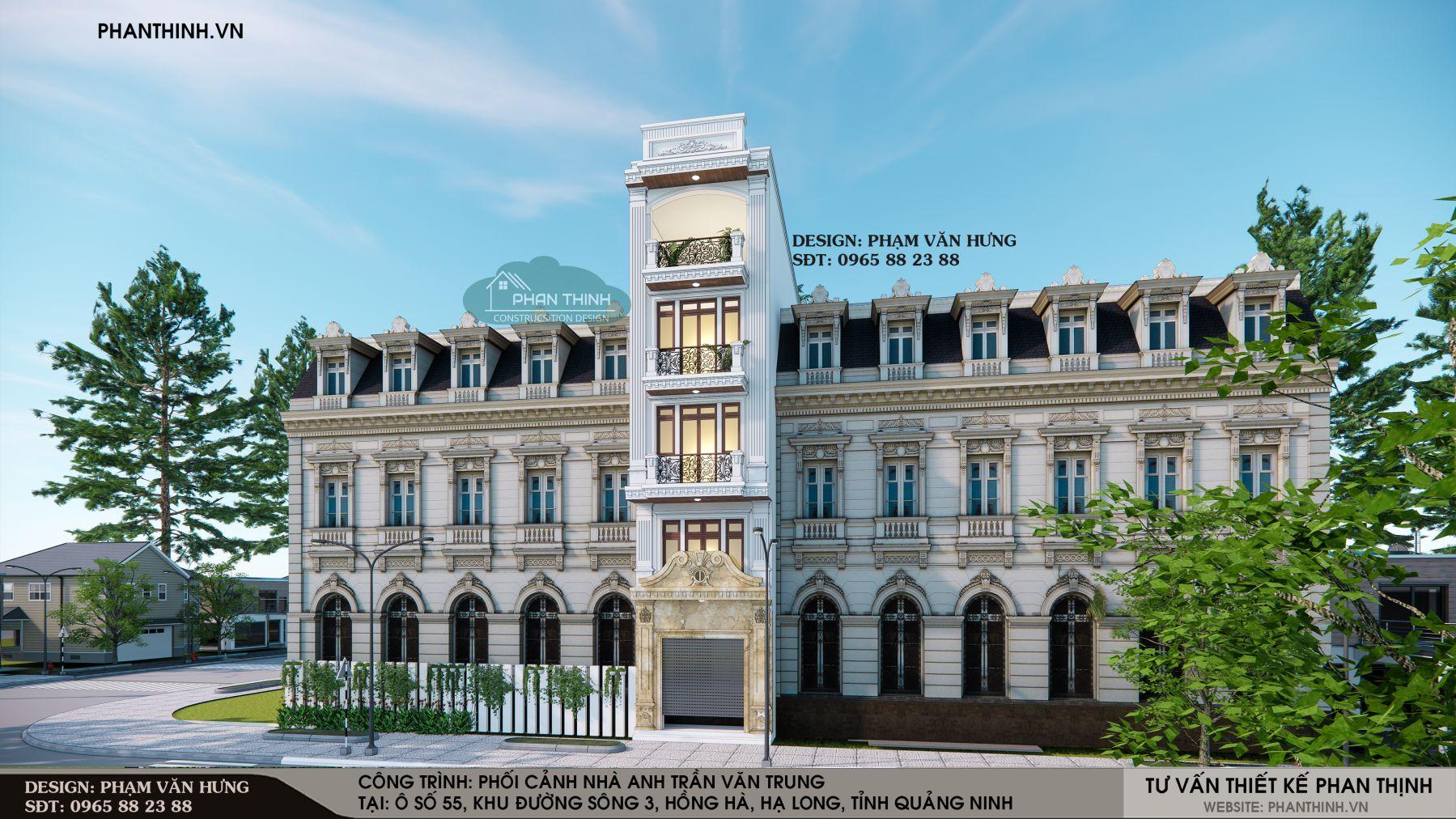 Mặt tiền nhà ống rộng 4,5m phong cách tân cổ điển đẹp năm 2020