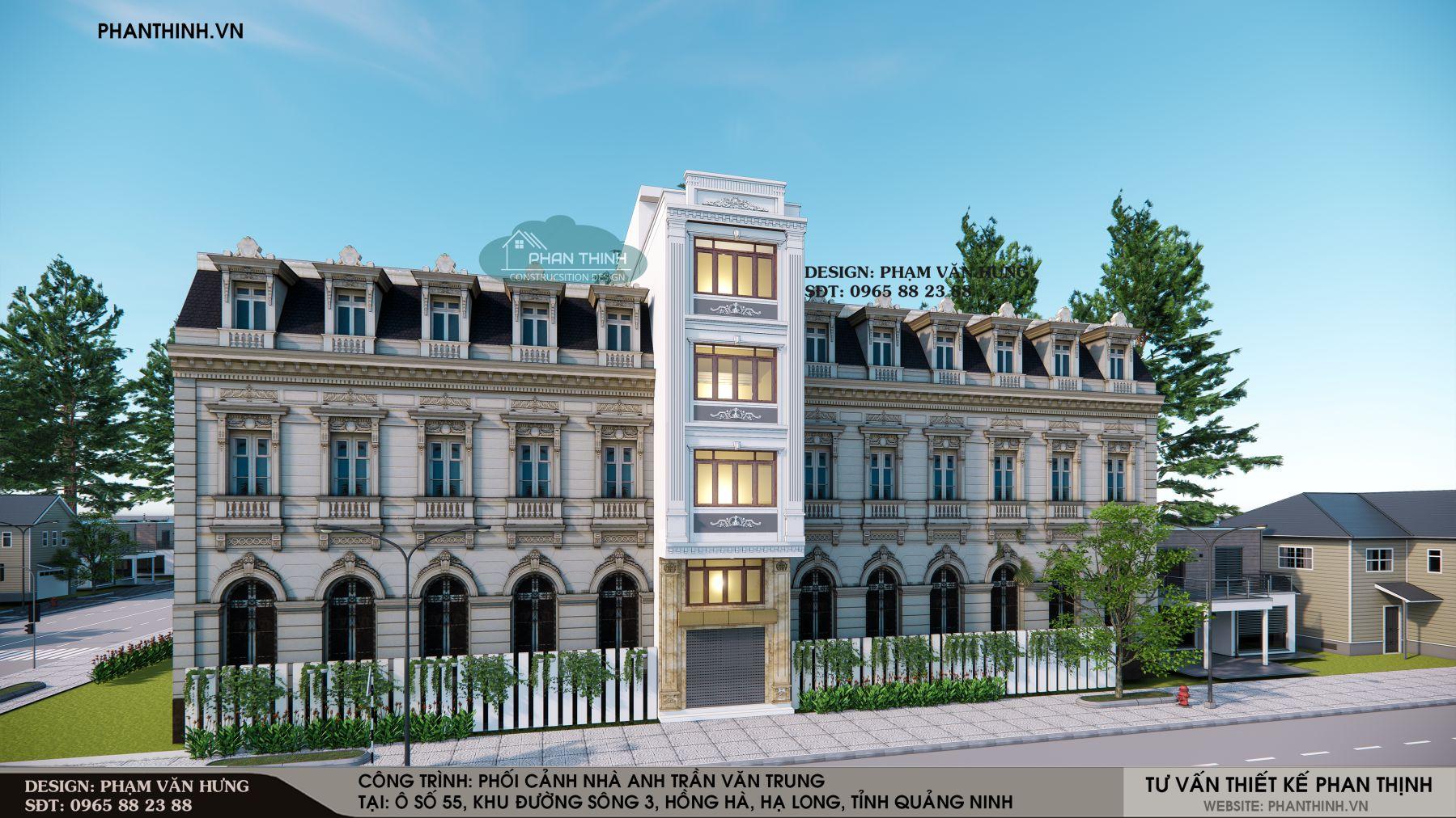 Thiết kế mặt tiền nhà nghỉ 5 tầng tân cổ điển ở Quảng Ninh