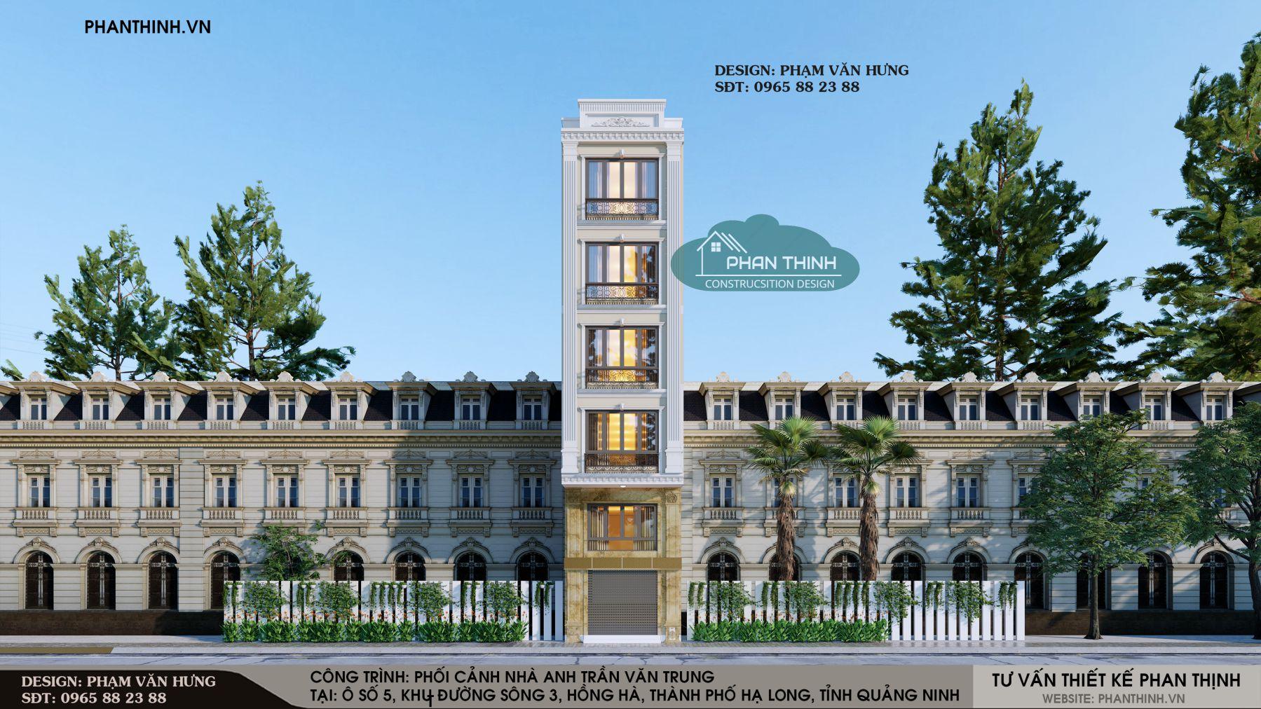 Mặt tiền thiết kế nhà 5 tầng tân cổ đẹp ở Quảng Ninh