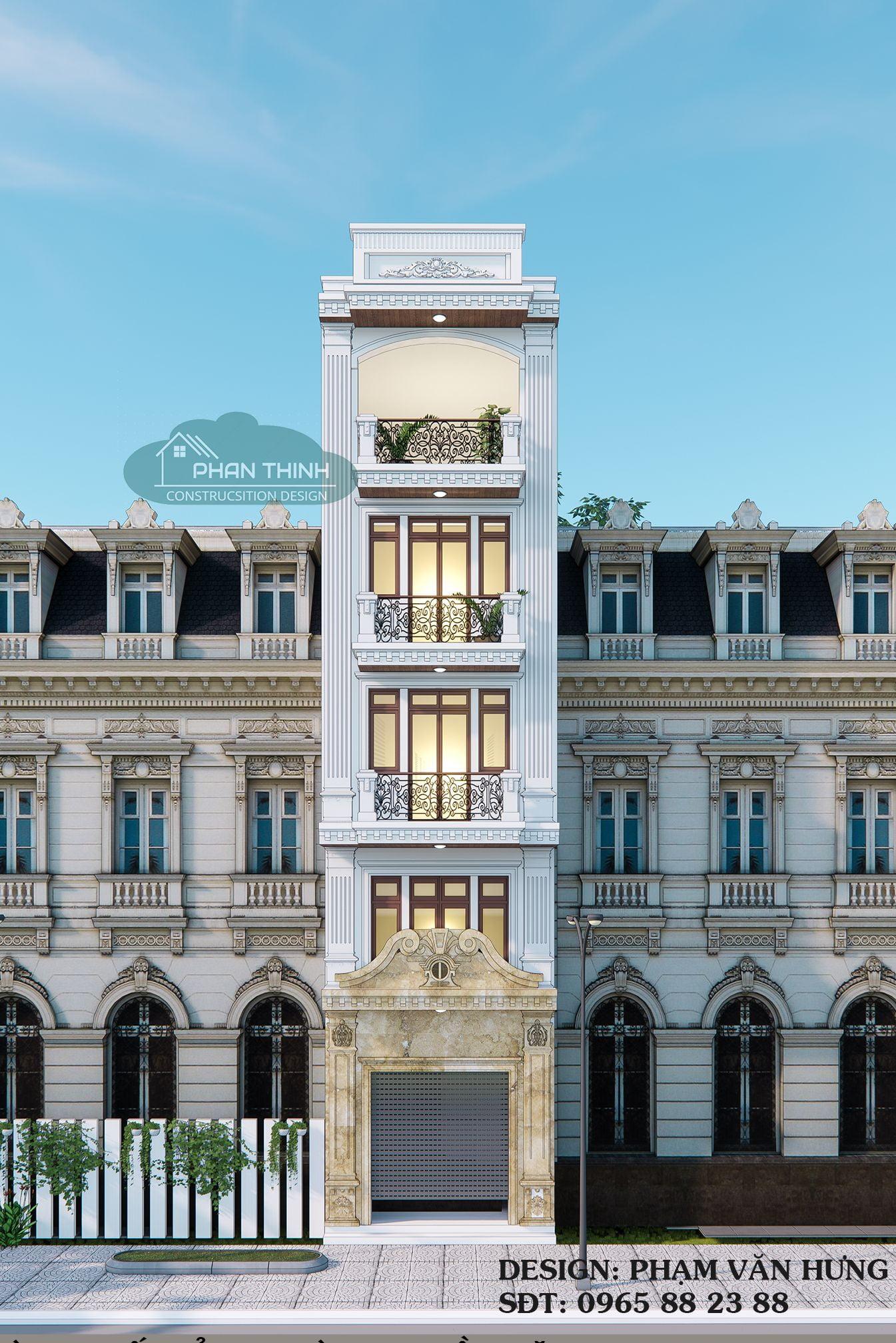 Mẫu mặt tiền phong cách tân cổ nhà ống 5 tầng rộng 4,5m đẹp