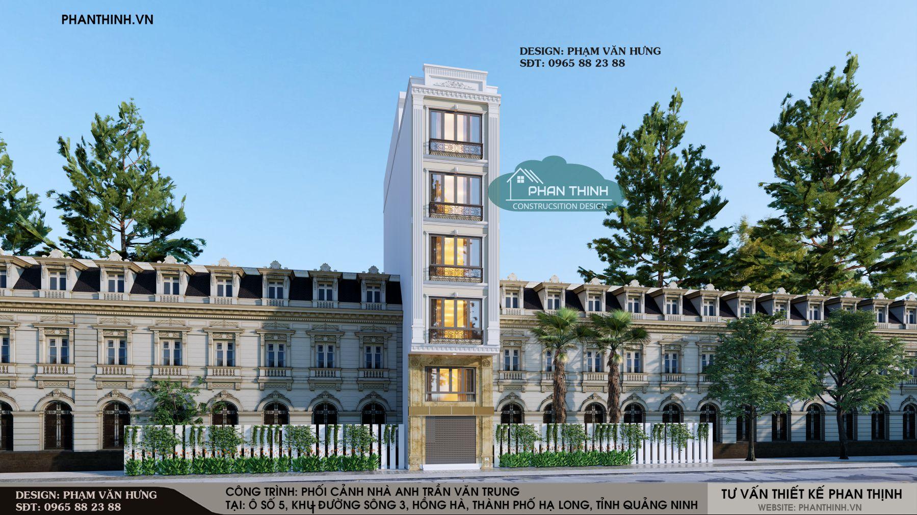 Phối cảnh thiết kế nhà ống 5 tầng phong cách tân cổ tại Quảng Ninh