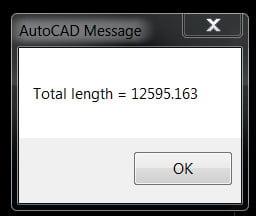 Sau khi sử dụng lệnh tính tổng chiều dài trong cad sẽ hiện thông báo sau.
