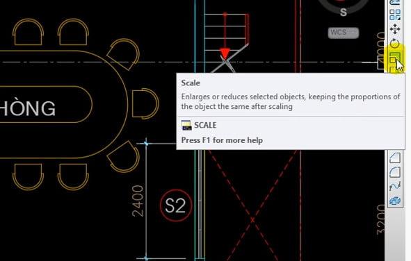 Biểu tượng nút Scale trong cad