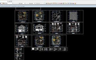 Download bản vẽ cad nhà 2 tầng, mái thái, 10,5 x 12m đầy đủ bản vẽ