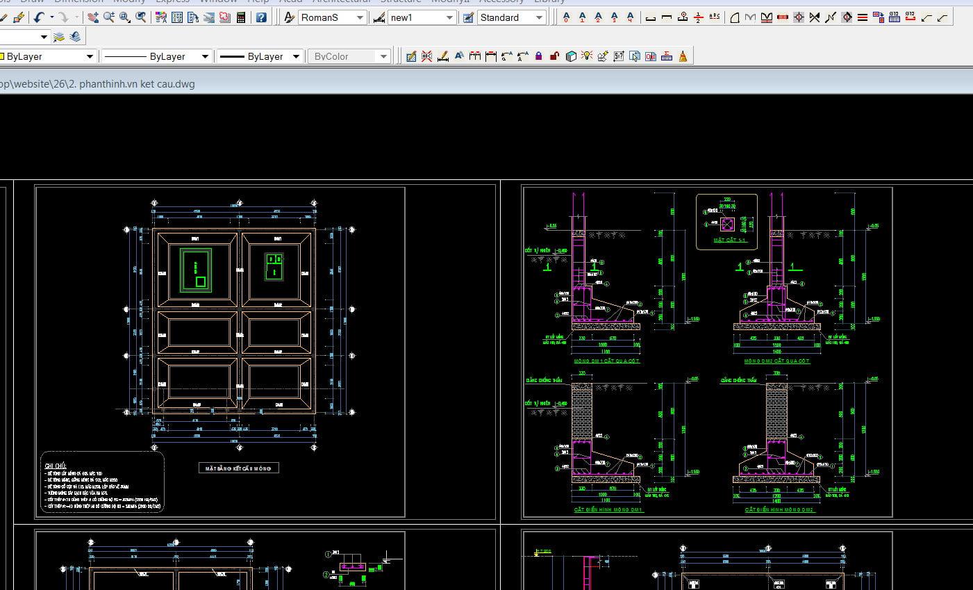 Bản vẽ kết cấu móng nhà 2 tầng