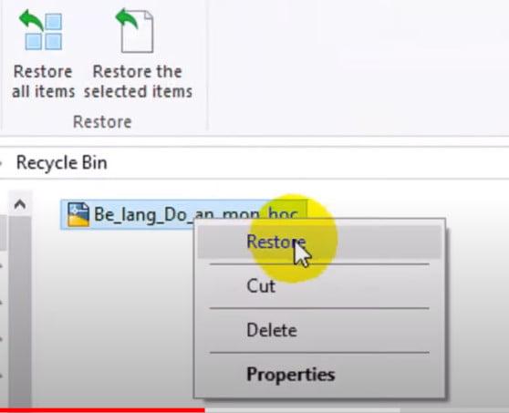 Chọn file đã xóa nhầm vào chọn restore