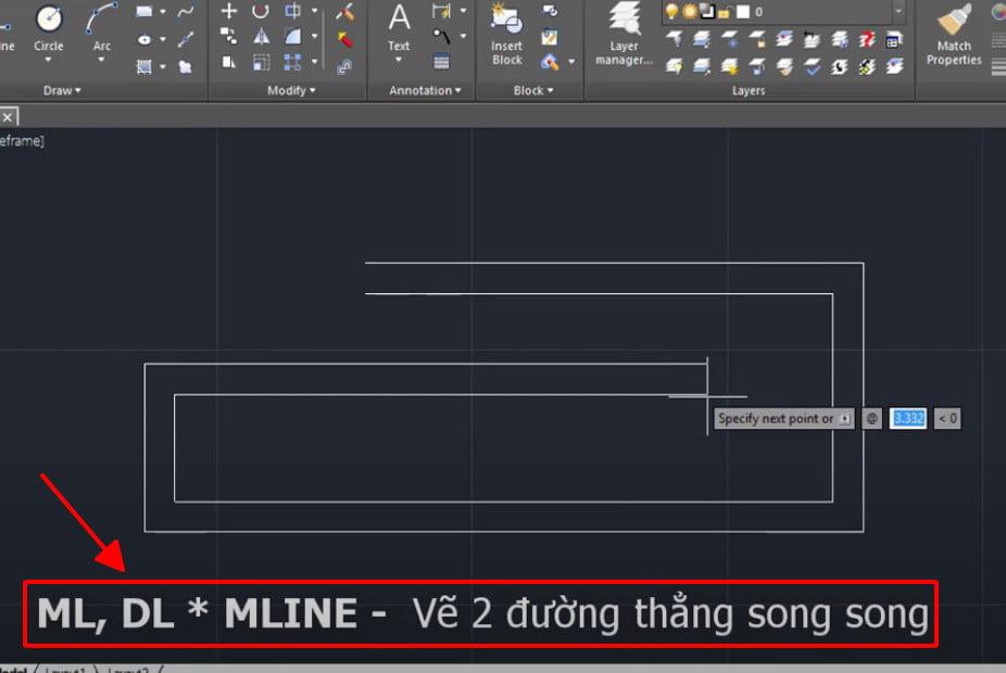 Lệnh MLINE vẽ 2 đường thẳng song song