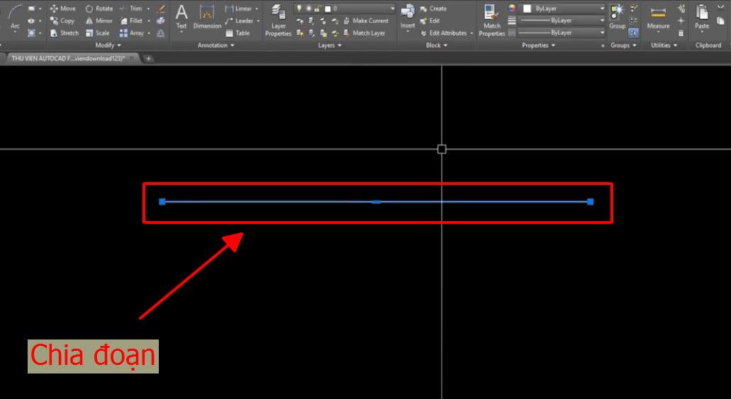 Vẽ một đường line làm ví dụ với lệnh DIVIDE
