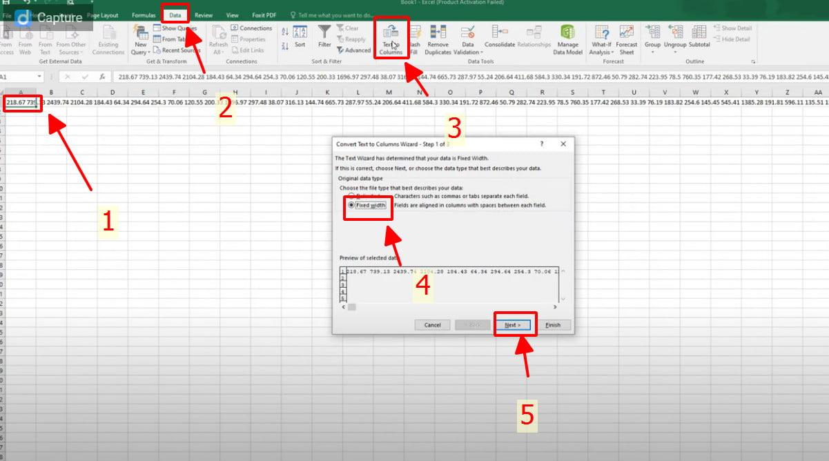Thực hiện các bước trên để phân loại số liệu vào các cột riêng biệt