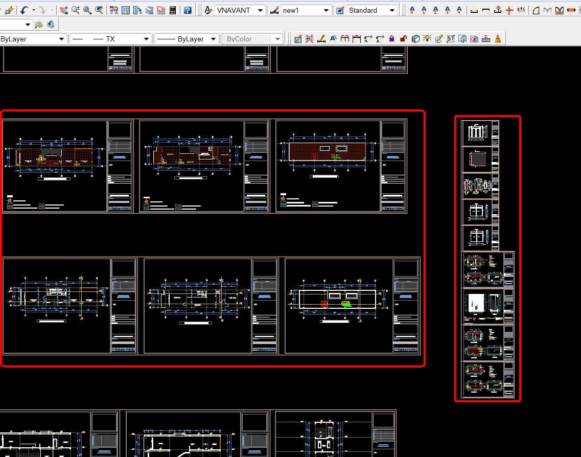 Hồ sơ thiết kế nhà phố full kiến trúc kết cấu điện nước file autocad