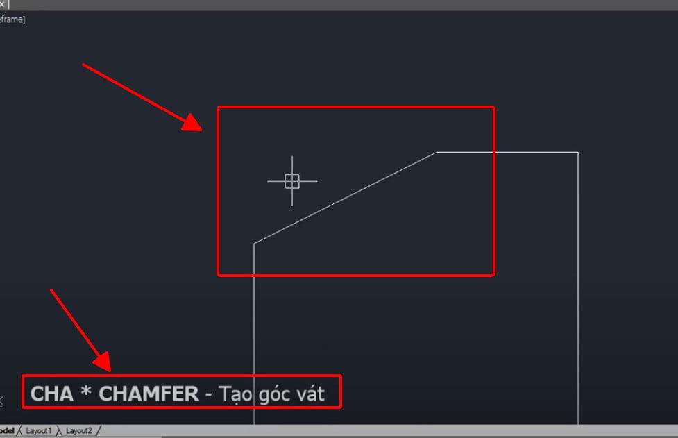 Lệnh Chamfer tạo góc vát trong cad