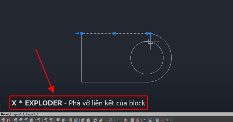 Lệnh Exploder phá vỡ liên kết của block
