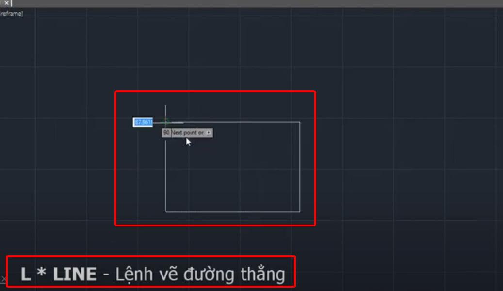 Ví dụ về lệnh Line để vẽ đường thẳng trong cad